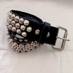 Cone Studded Leather Belt